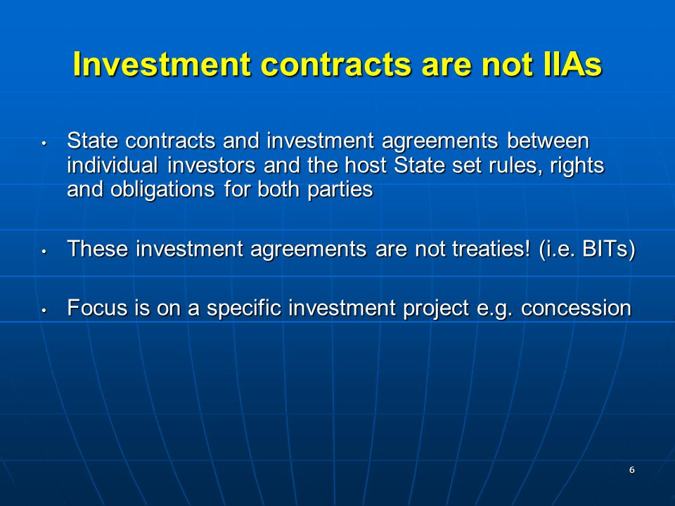 Investment contracts are not IIAs