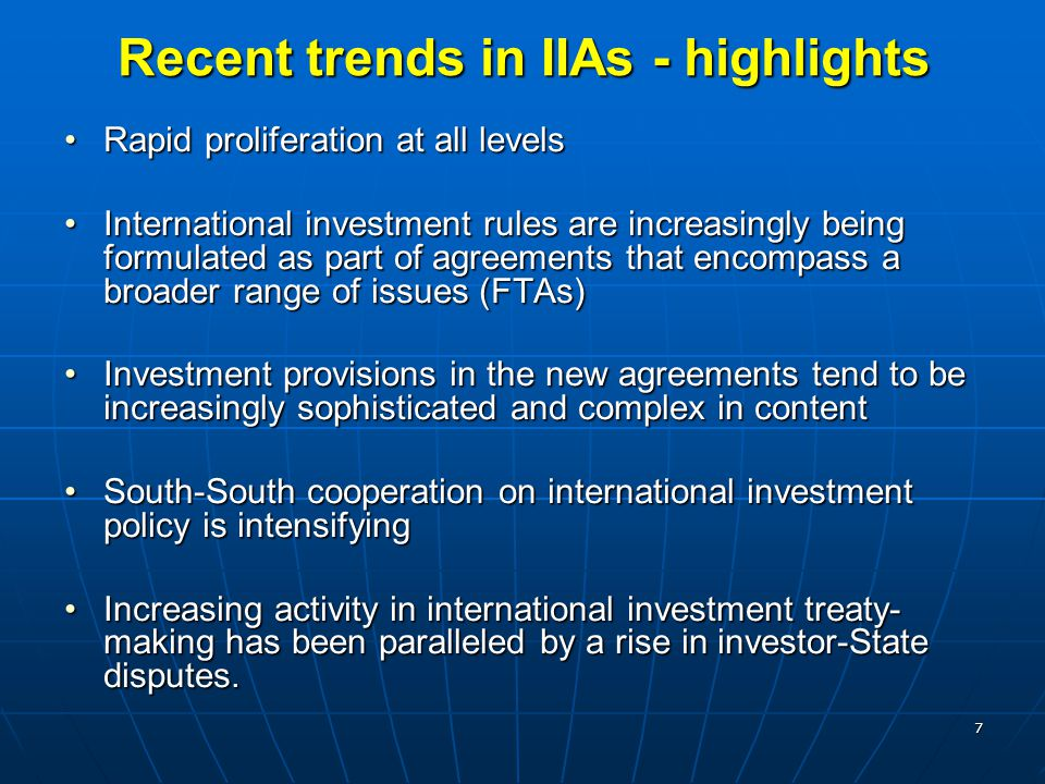 Recent trends in IIAs - highlights