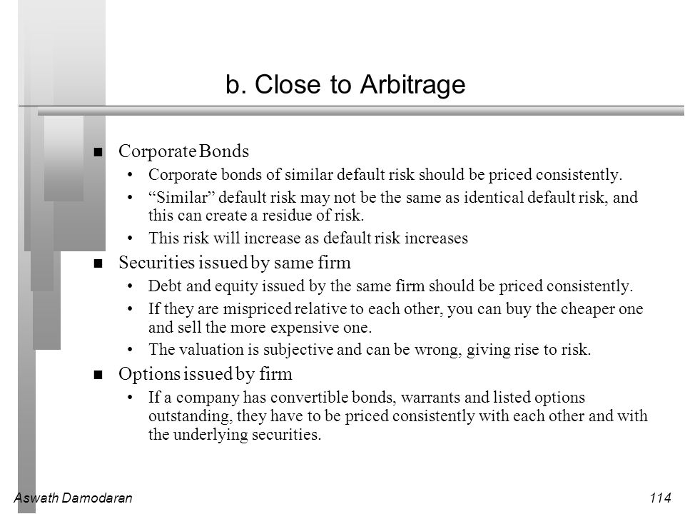 b. Close to Arbitrage Corporate Bonds Securities issued by same firm