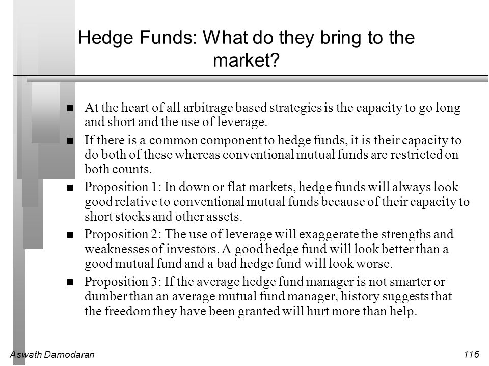 Hedge Funds: What do they bring to the market