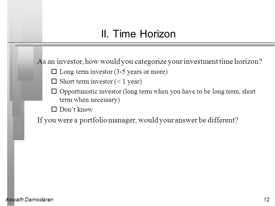 II. Time Horizon As an investor, how would you categorize your investment time horizon Long term investor (3-5 years or more)