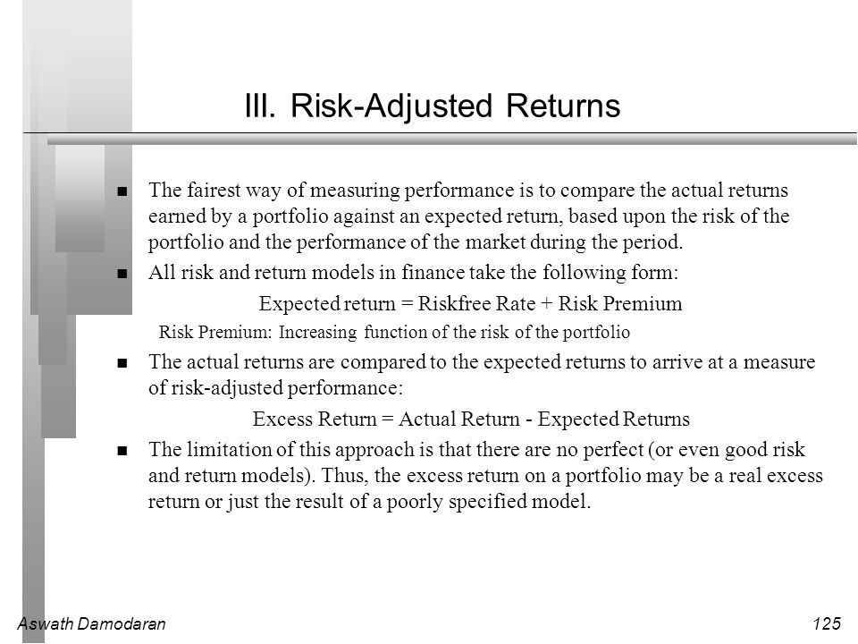 III. Risk-Adjusted Returns