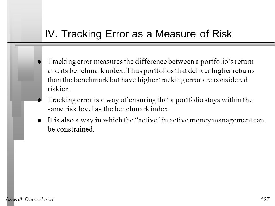 IV. Tracking Error as a Measure of Risk