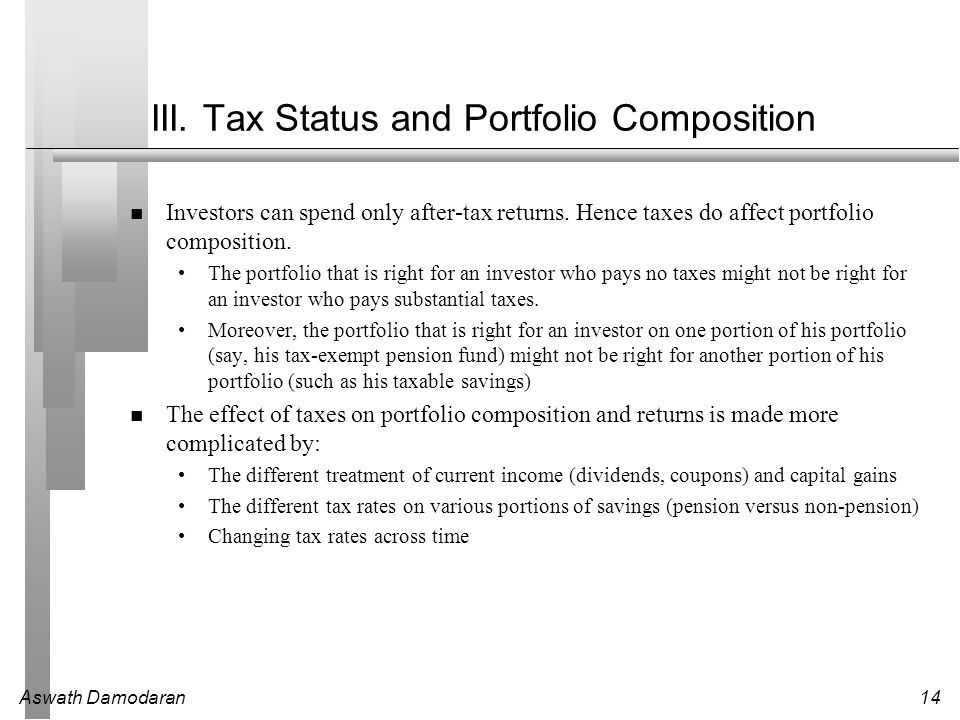 III. Tax Status and Portfolio Composition