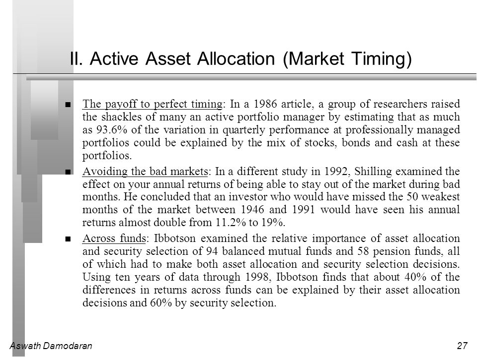 II. Active Asset Allocation (Market Timing)