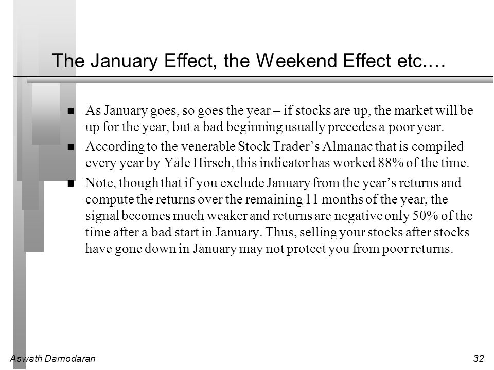 The January Effect, the Weekend Effect etc.…