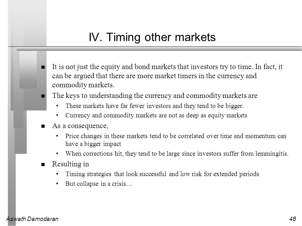 IV. Timing other markets