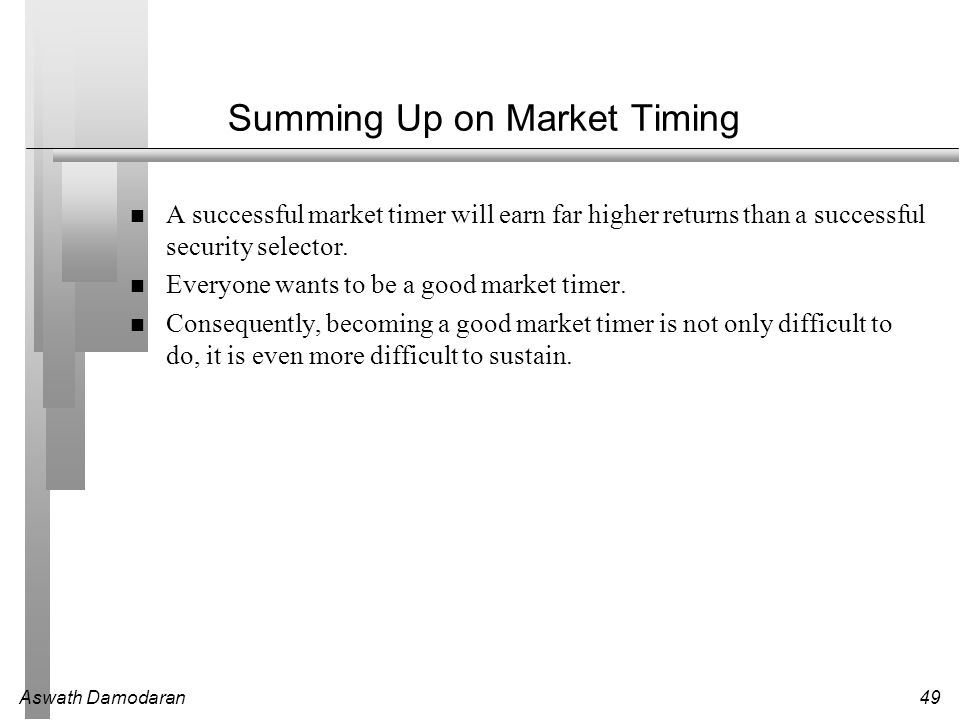 Summing Up on Market Timing
