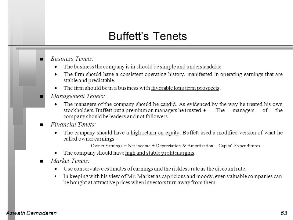 Buffett's Tenets Business Tenets: Management Tenets: Financial Tenets: