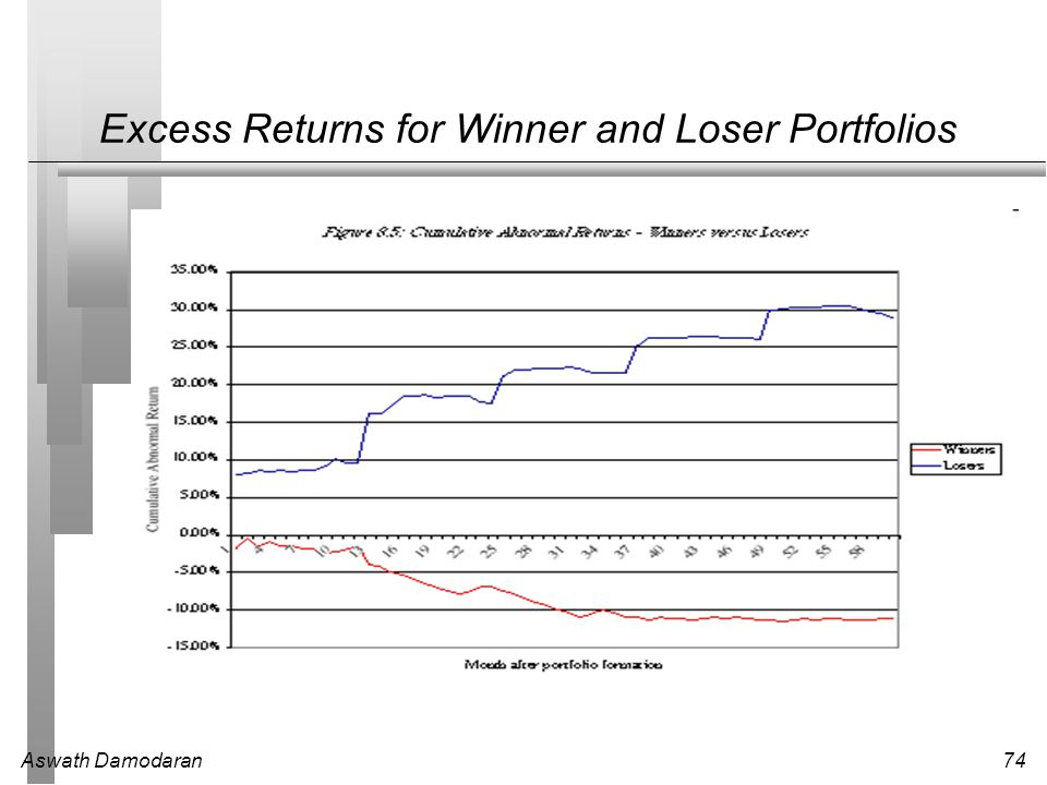 Excess Returns for Winner and Loser Portfolios