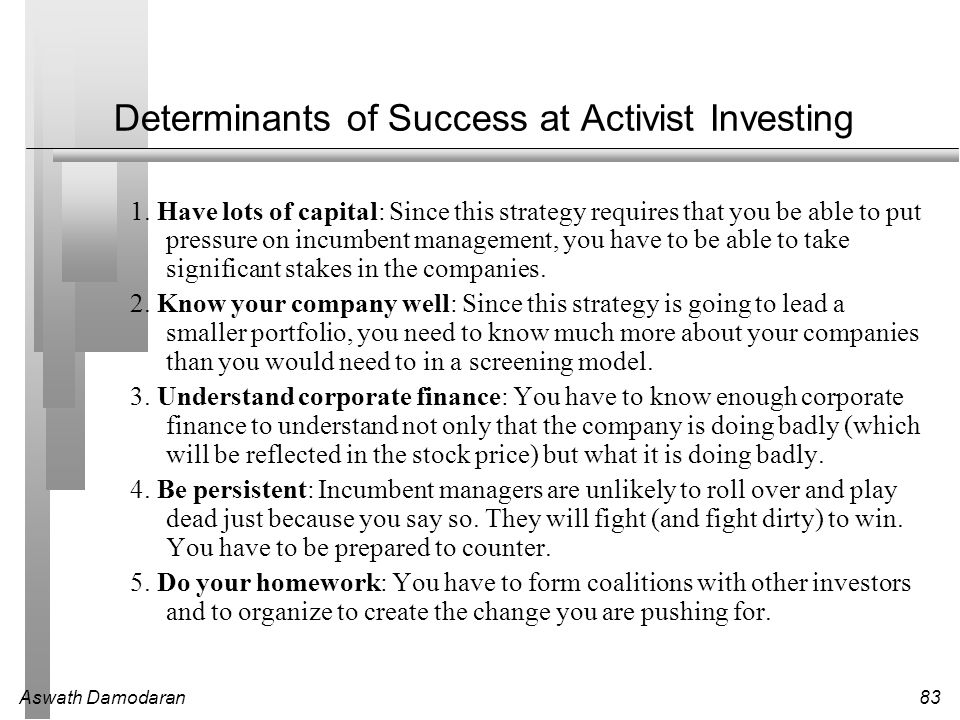 Determinants of Success at Activist Investing