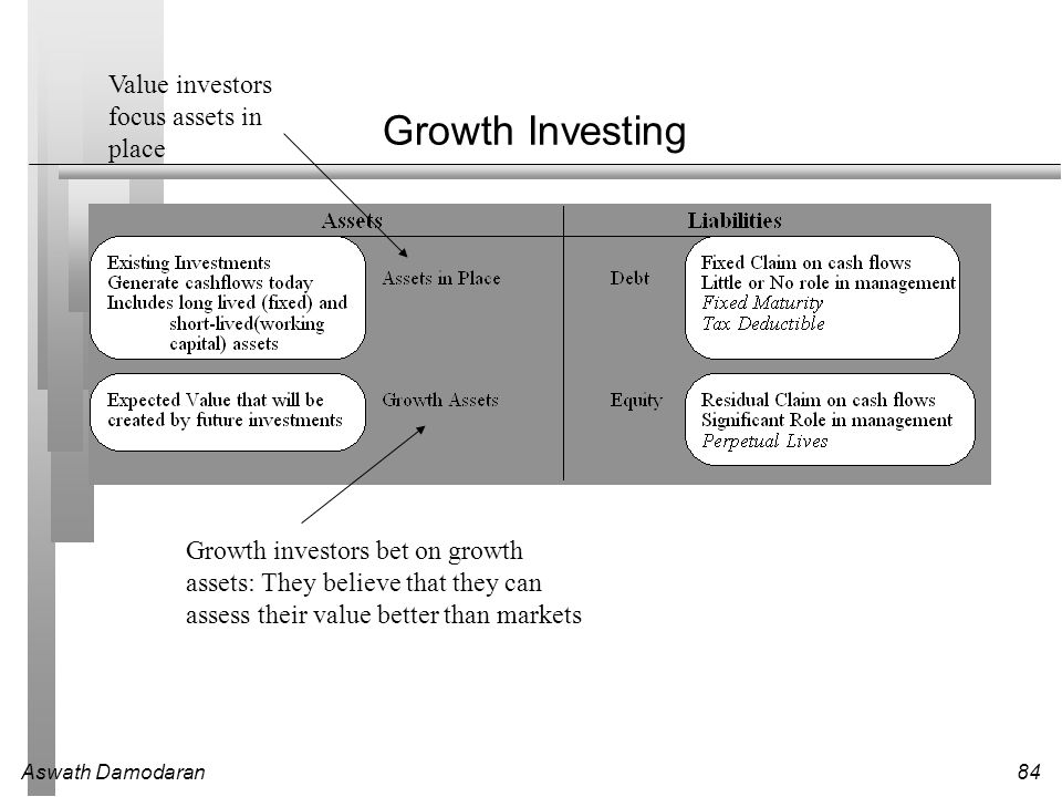 Growth Investing Value investors focus assets in place