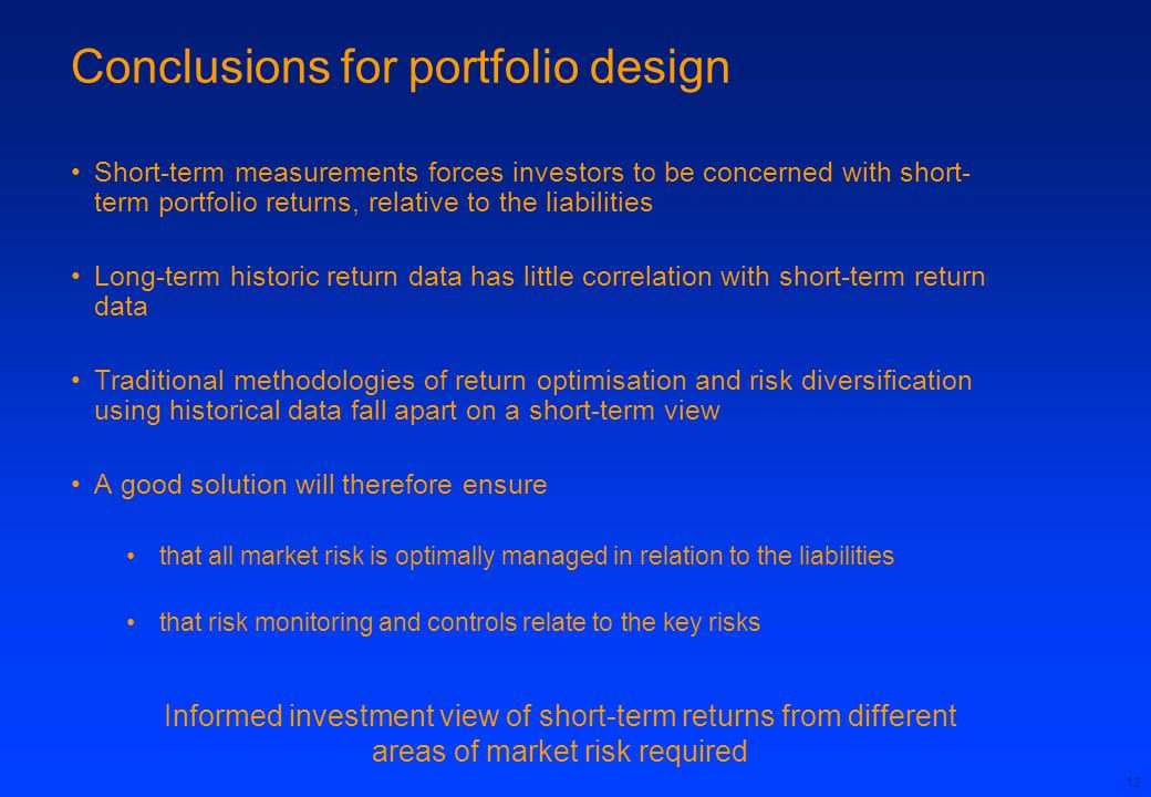 Conclusions for portfolio design