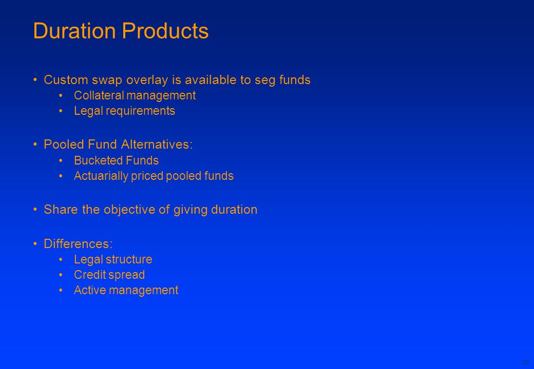 Duration Products Custom swap overlay is available to seg funds
