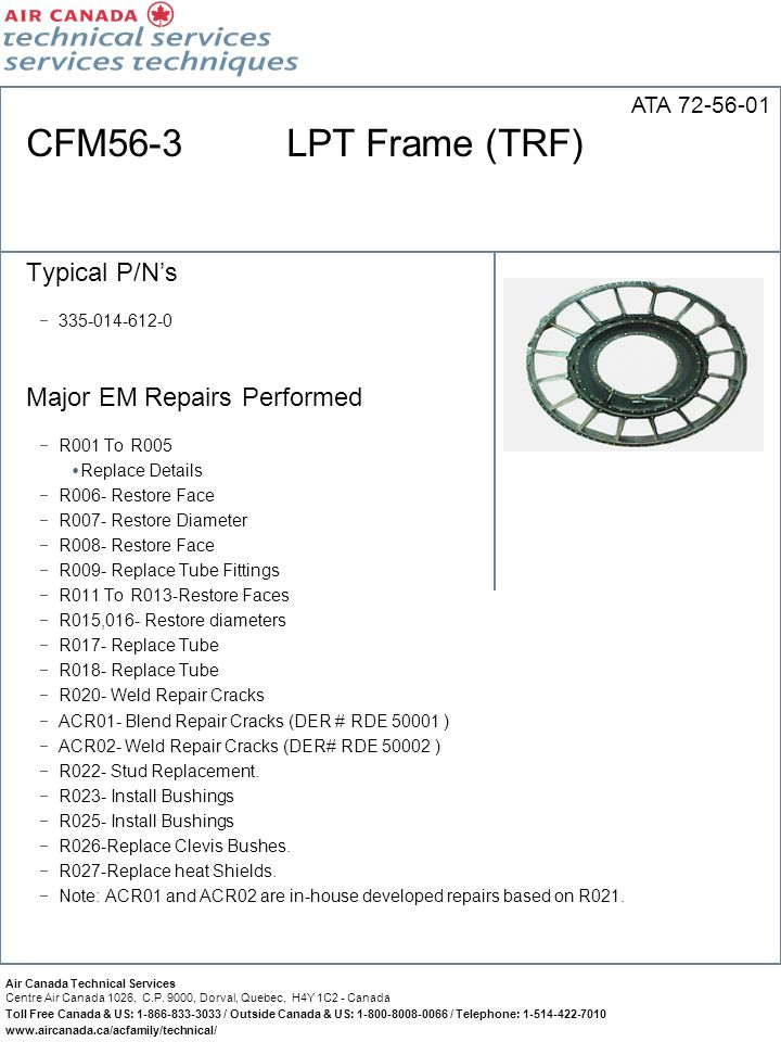 CFM56-3 LPT Frame (TRF) Typical P/N's Major EM Repairs Performed