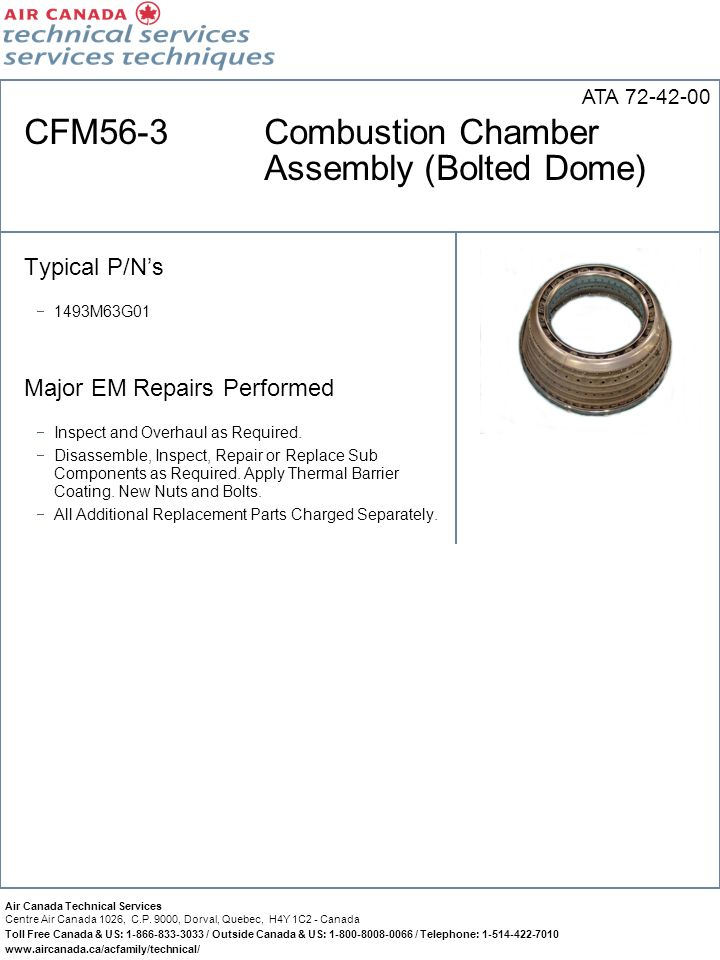 CFM56-3 Combustion Chamber Assembly (Bolted Dome)