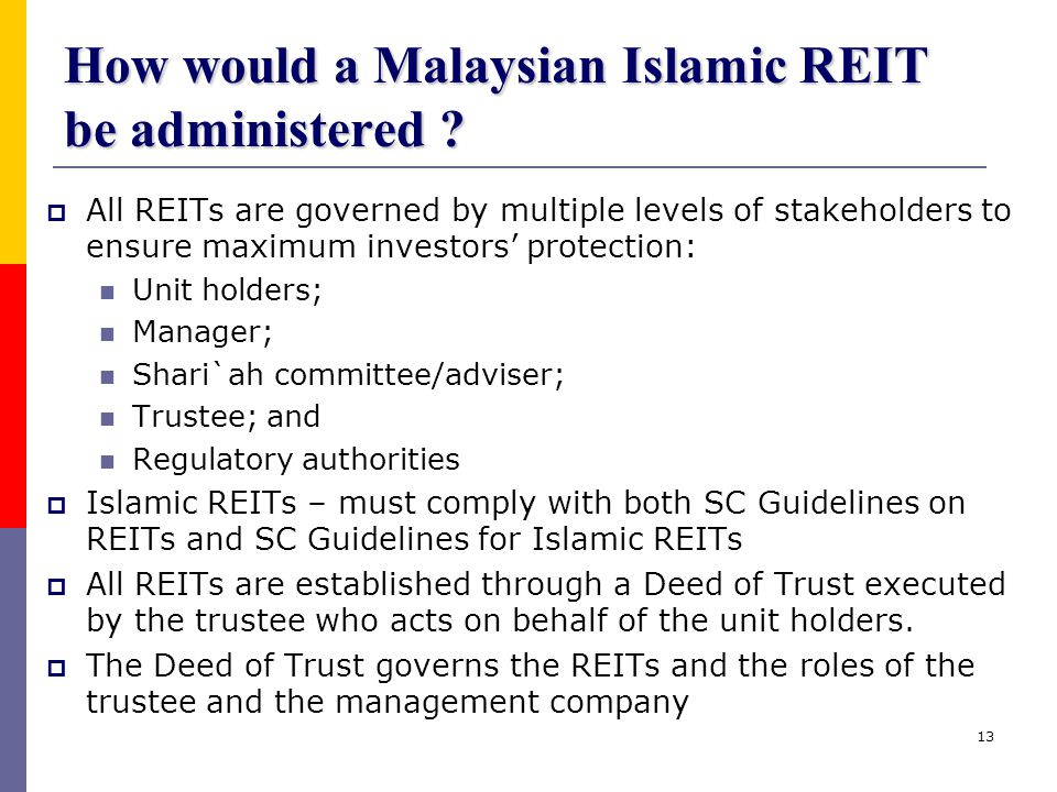 How would a Malaysian Islamic REIT be administered