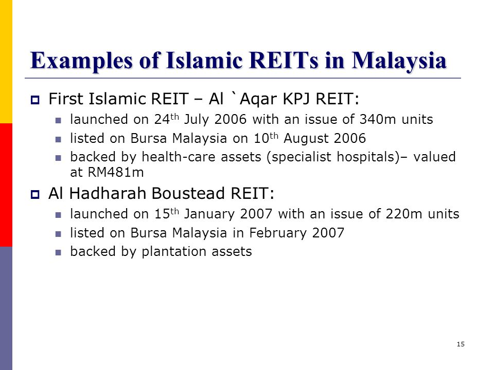 Examples of Islamic REITs in Malaysia