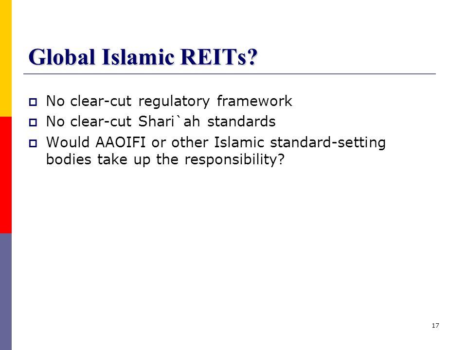 Global Islamic REITs No clear-cut regulatory framework