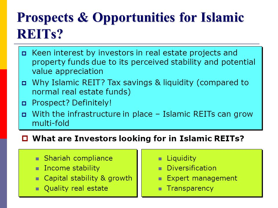 Prospects & Opportunities for Islamic REITs
