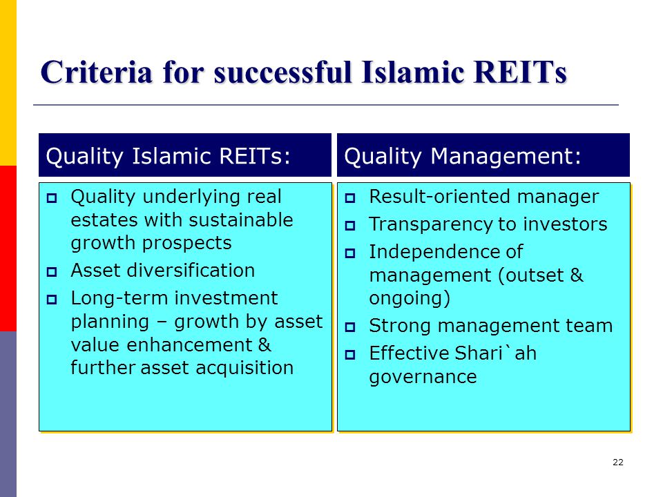 Criteria for successful Islamic REITs