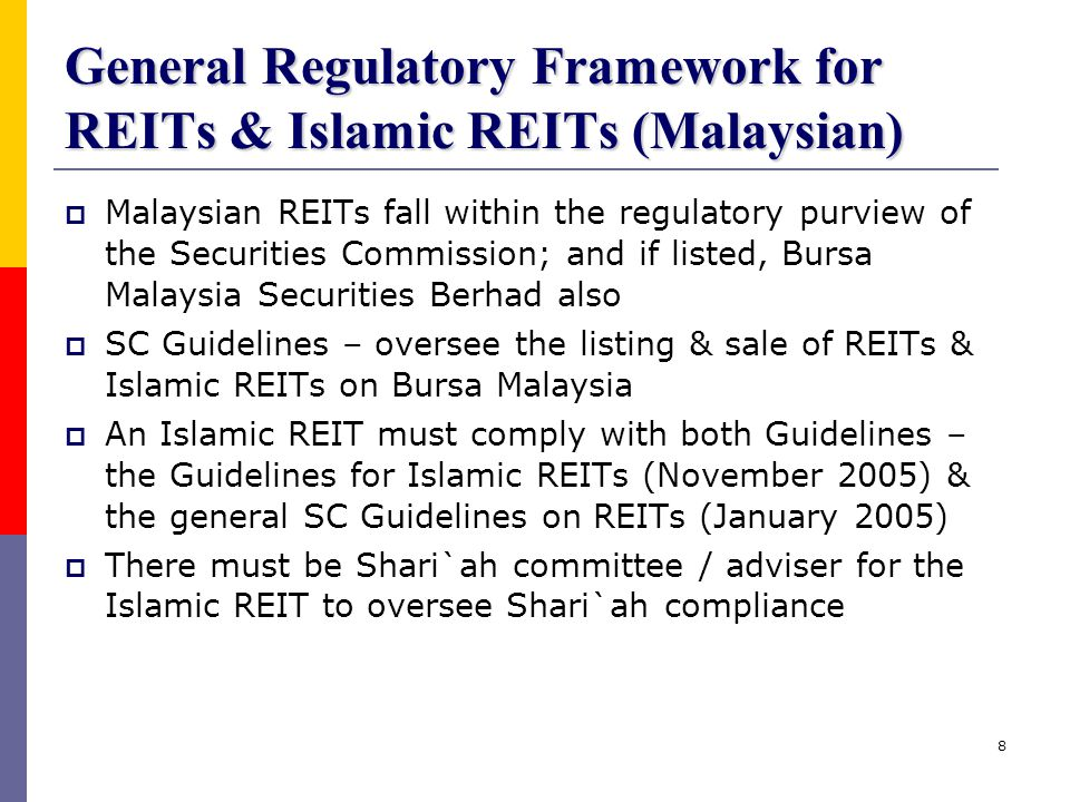 General Regulatory Framework for REITs & Islamic REITs (Malaysian)