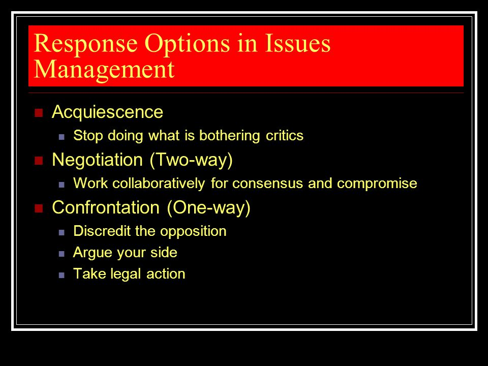 Response Options in Issues Management