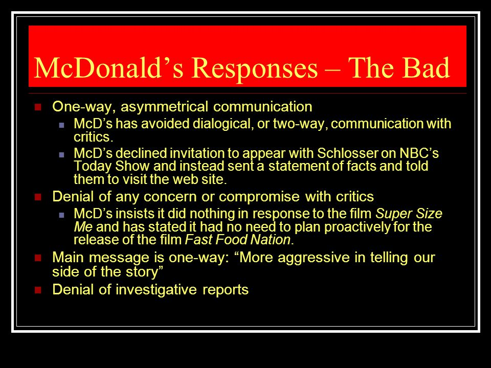 McDonald's Responses – The Bad