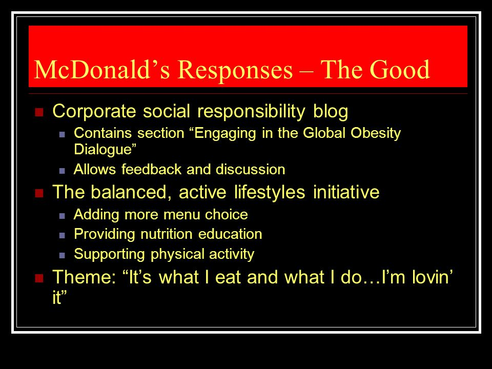 McDonald's Responses – The Good