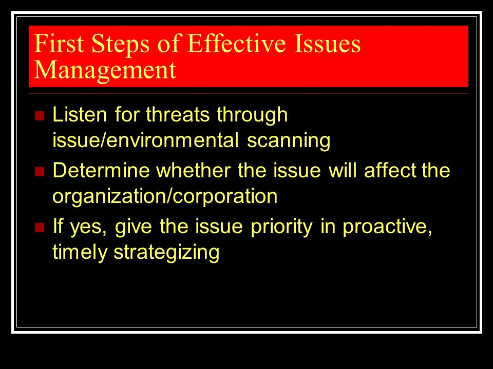 First Steps of Effective Issues Management