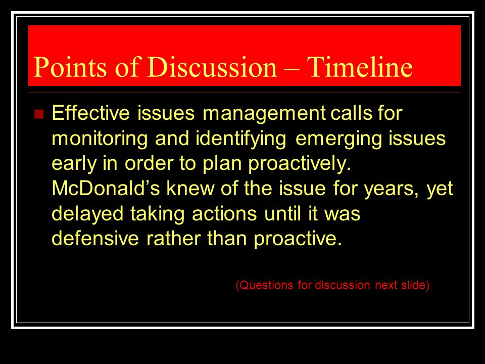 Points of Discussion – Timeline