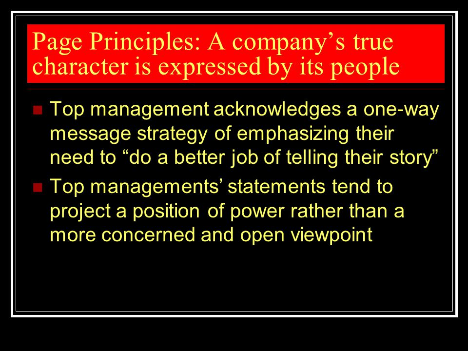 Page Principles: A company's true character is expressed by its people