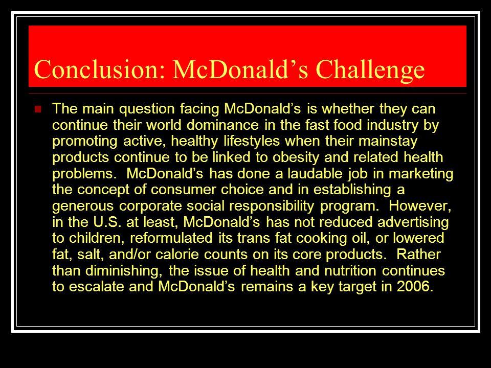 Conclusion: McDonald's Challenge