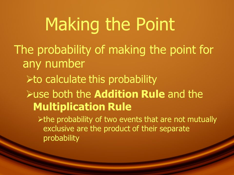 Making the Point The probability of making the point for any number