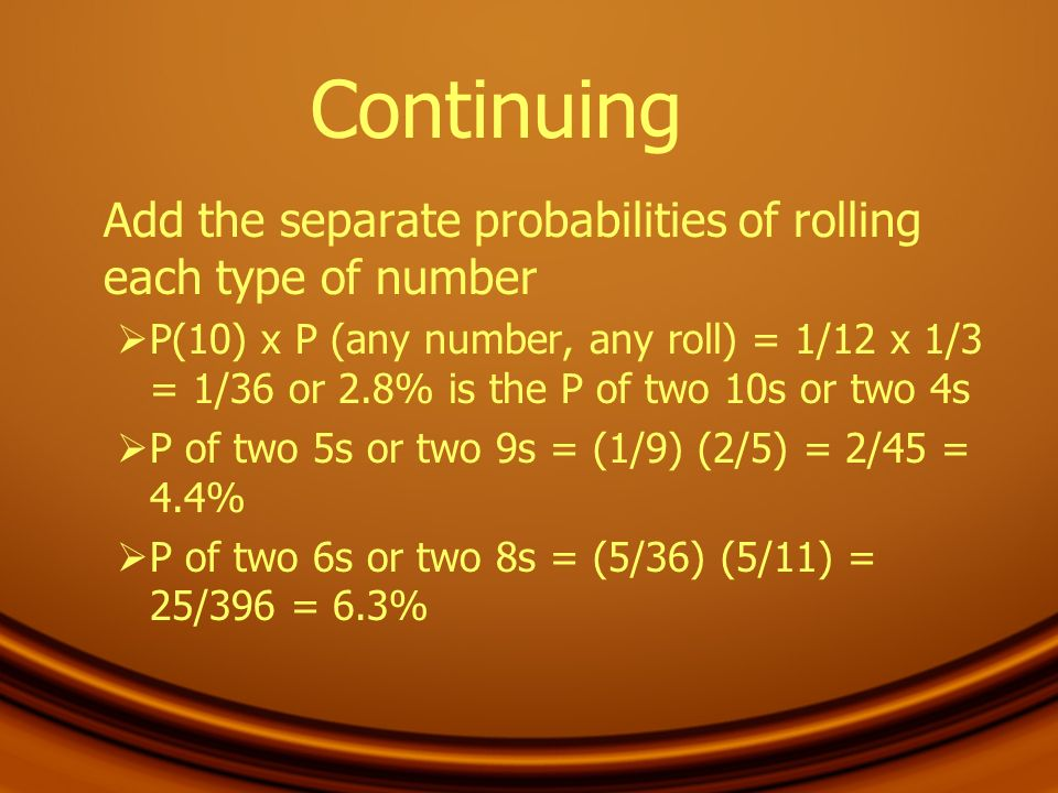 Continuing Add the separate probabilities of rolling each type of number.