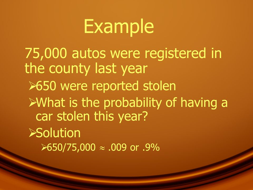 Example 75,000 autos were registered in the county last year
