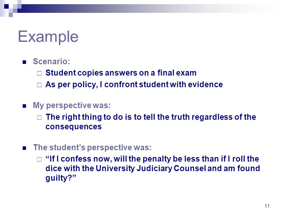 Example Scenario: Student copies answers on a final exam