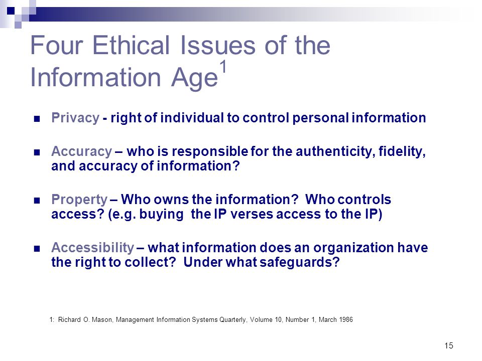 Four Ethical Issues of the Information Age1