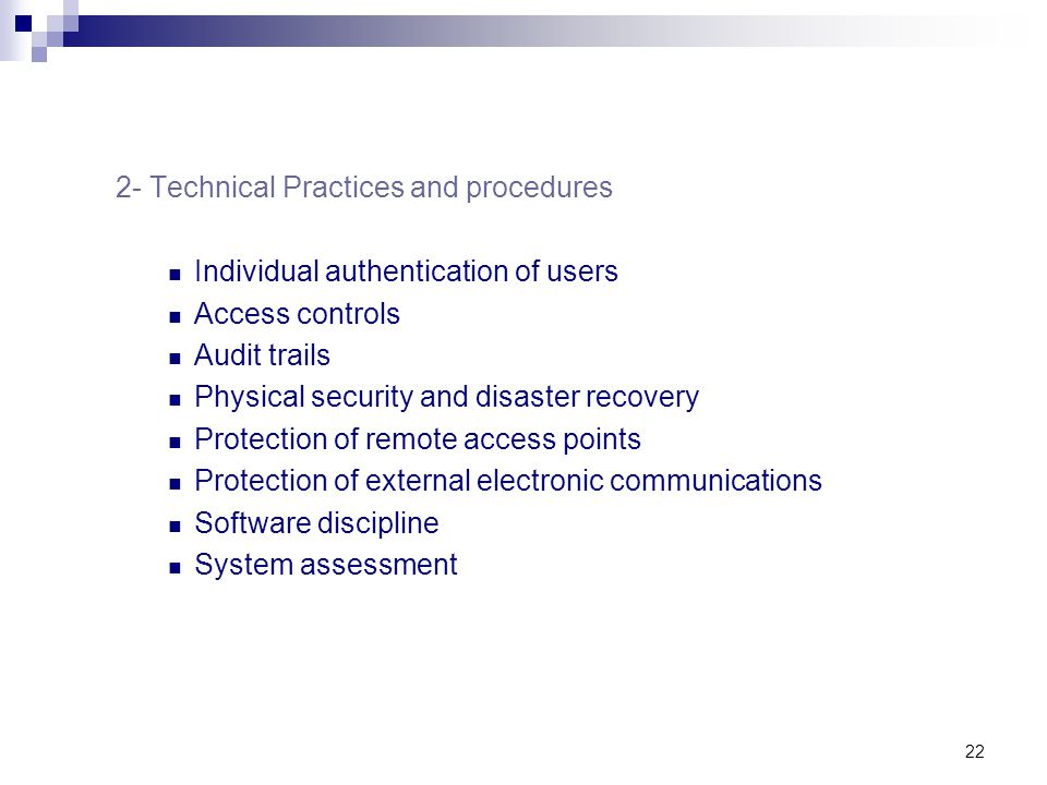 2- Technical Practices and procedures