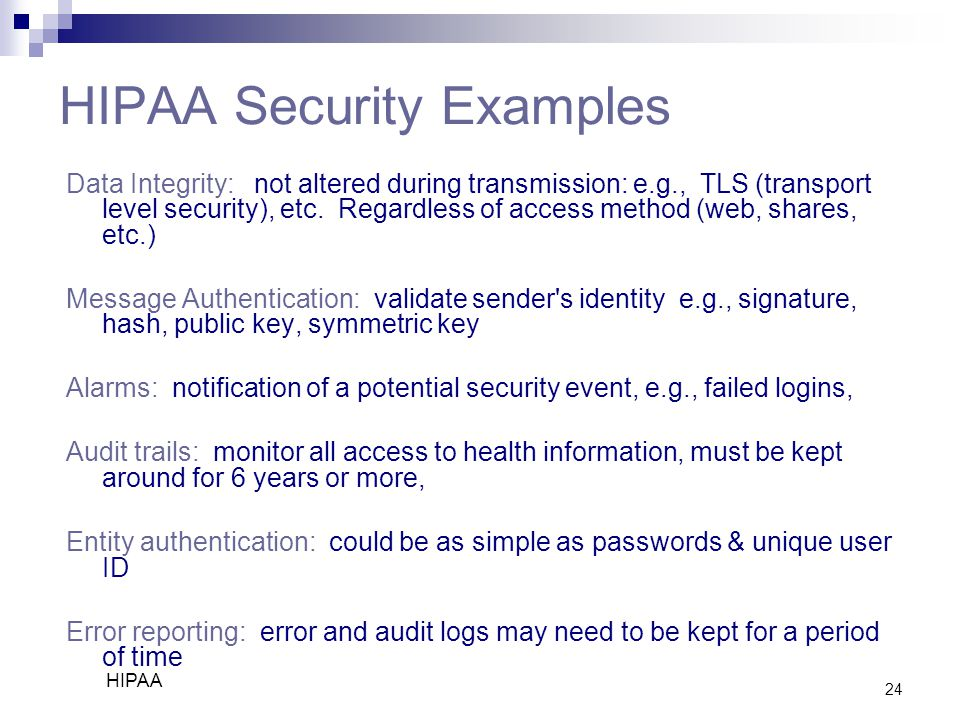 HIPAA Security Examples