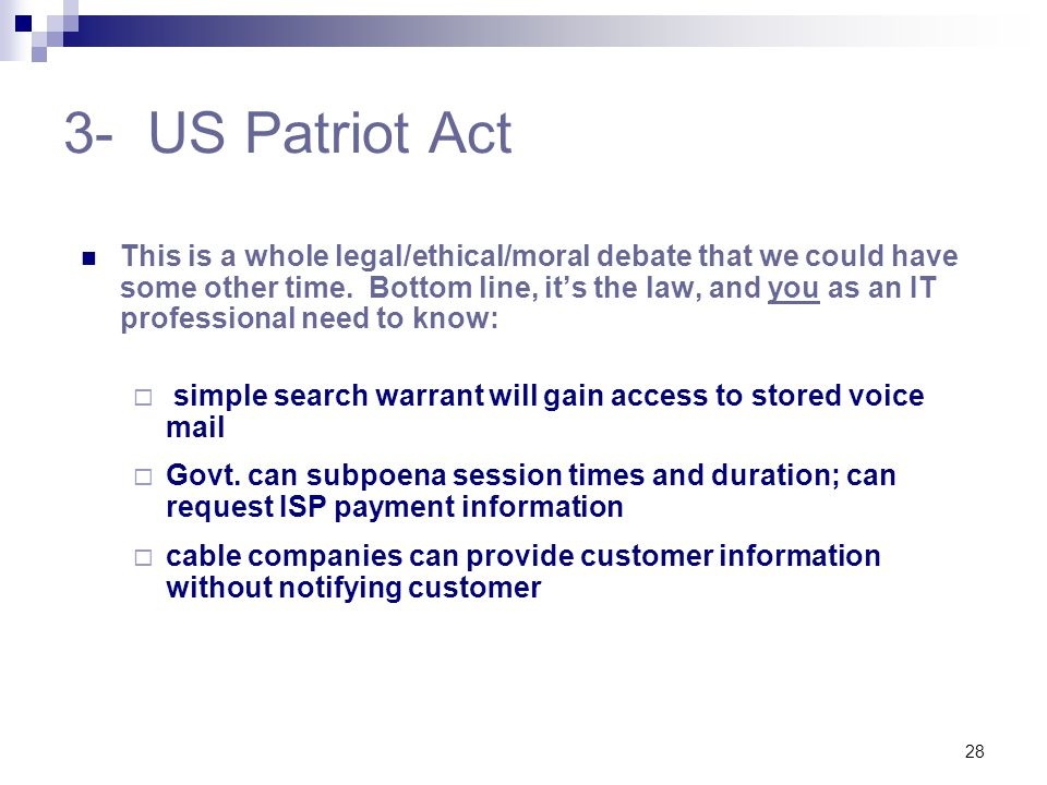 3- US Patriot Act