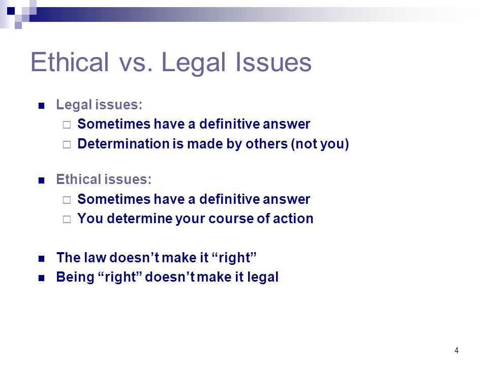 Ethical vs. Legal Issues