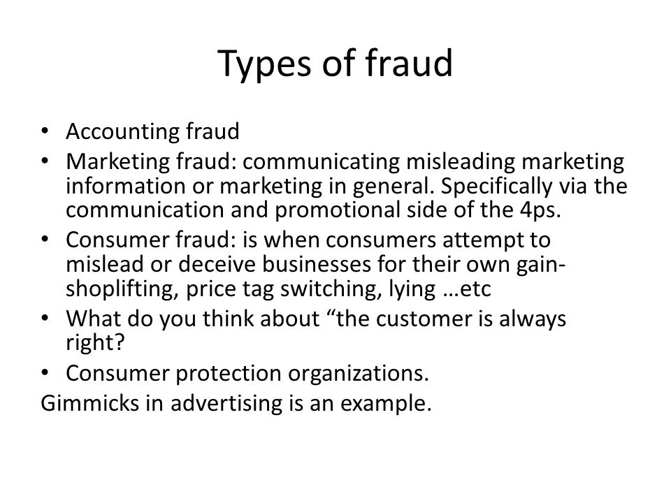 Types of fraud Accounting fraud