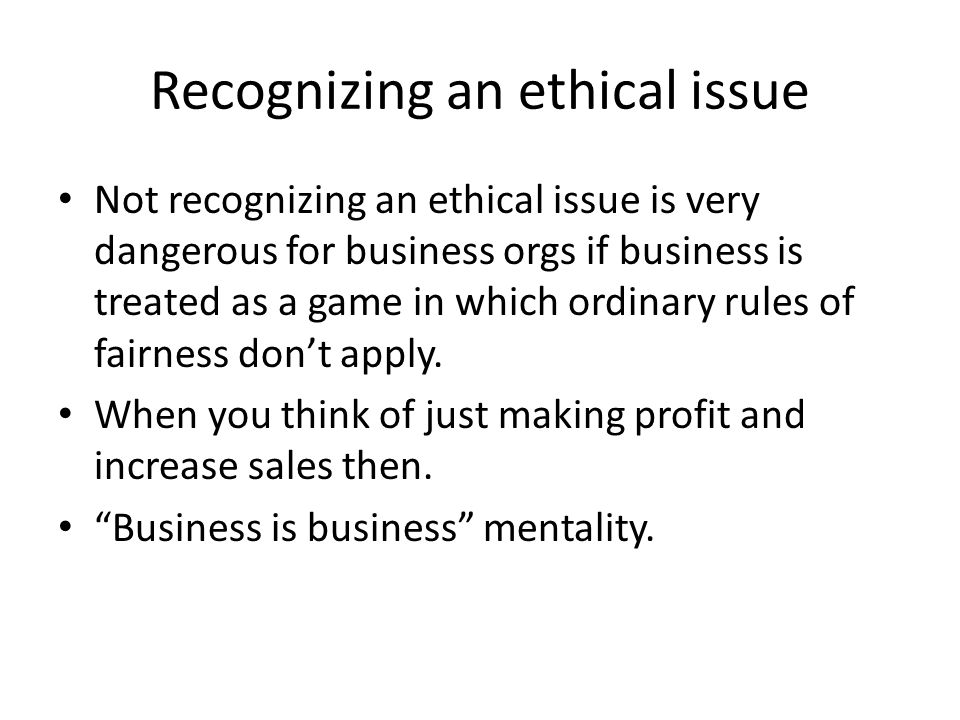 Recognizing an ethical issue
