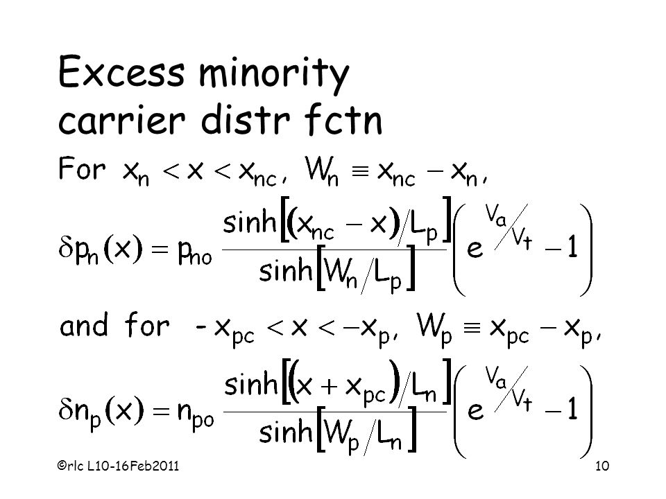 Excess minority carrier distr fctn