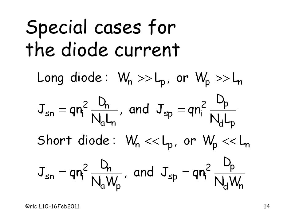 Special cases for the diode current