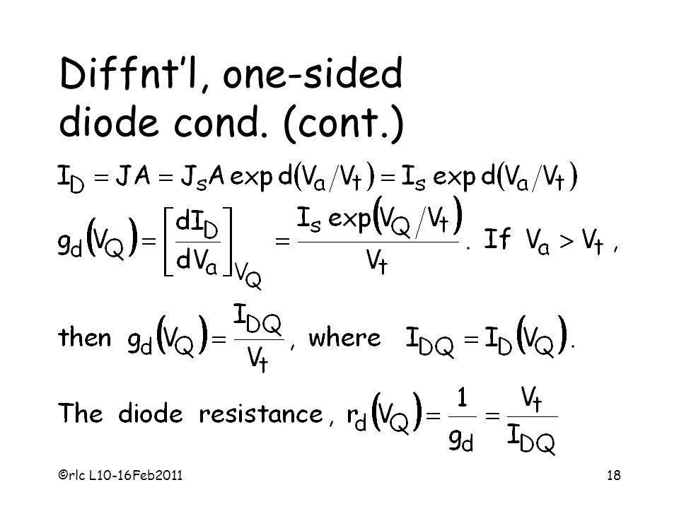 Diffnt'l, one-sided diode cond. (cont.)