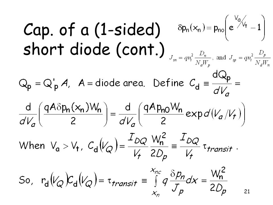 Cap. of a (1-sided) short diode (cont.)