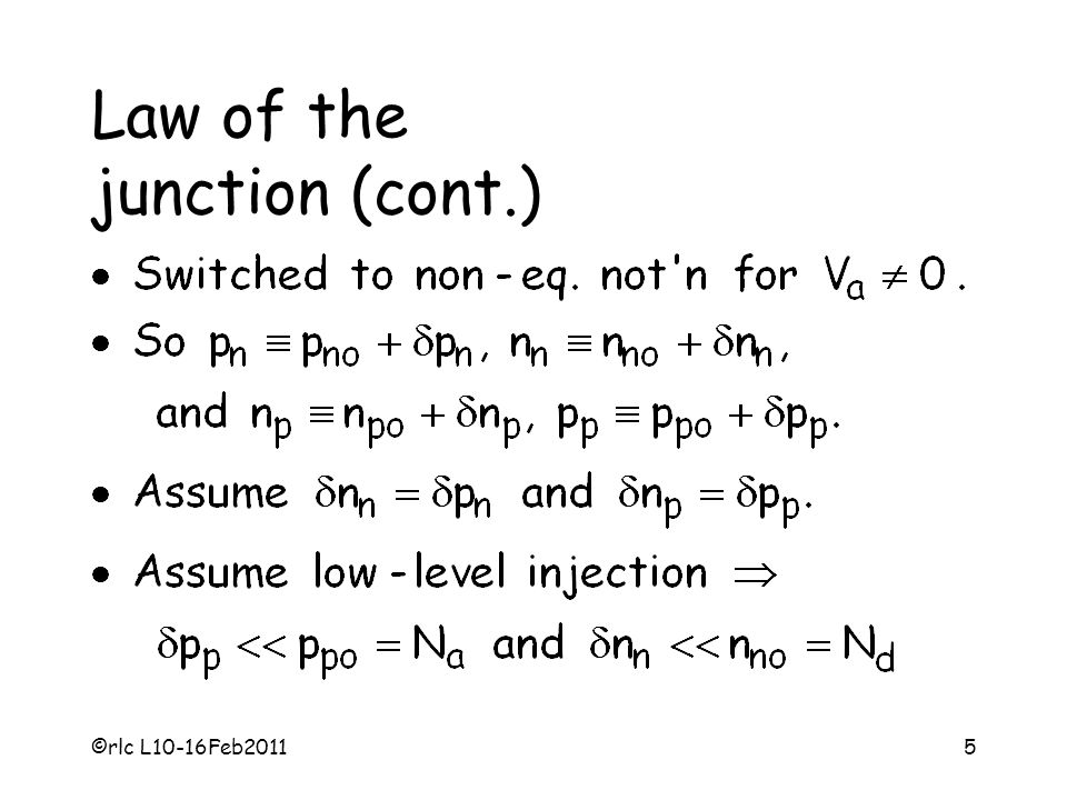 Law of the junction (cont.)