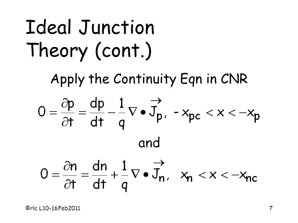 Apply the Continuity Eqn in CNR